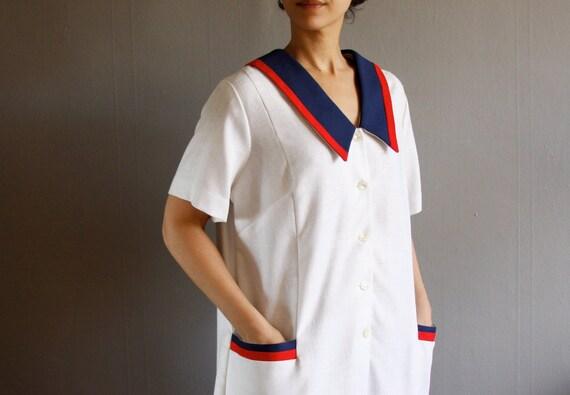 1960's nautical plus size dress