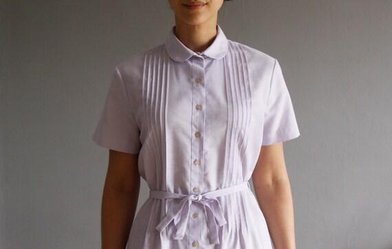 1970's lavender shirt dress . vintage peter pan collar dress l