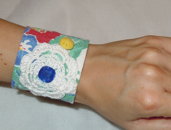 Handmade Vintage Fabric Wrist Cuff, shipping included