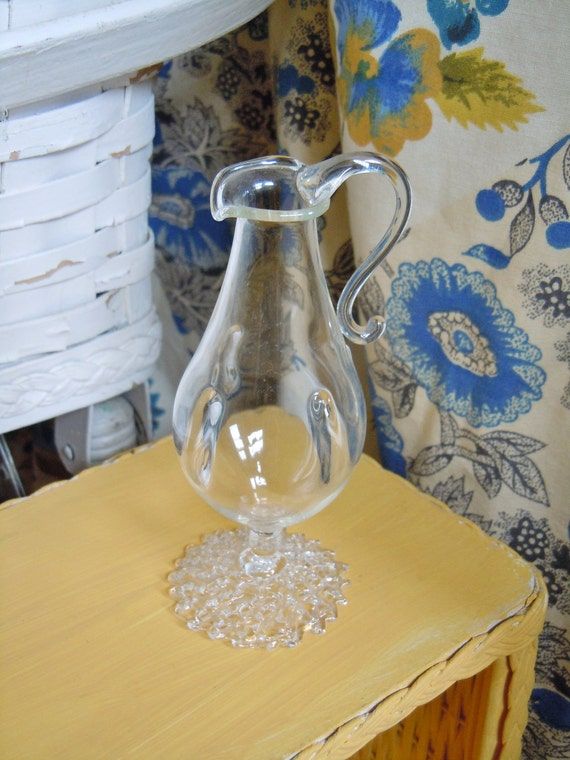 Small Delicate Hand Blown Clear Glass Vase, Pitcher