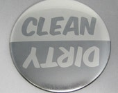 Clean/Dirty Dishwasher Magnet (Metallic Gray/Silver)