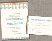 DIY Printable - Art Nouveau Border Wedding Invitation and Reply Card Set