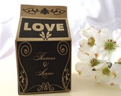 LOVE Milk Carton Wedding Favor Box. Natural Wedding. Black and Brown wedding. Wedding favor box. Engagement party. Bold and Simple box.
