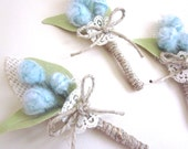 Groom Wedding Boutonniere. Mint Craspedia. Burlap and Cotton Canvas. Rustic Boutoniere. Wedding Boutonniere. Groomsmen. Father of the Bride.