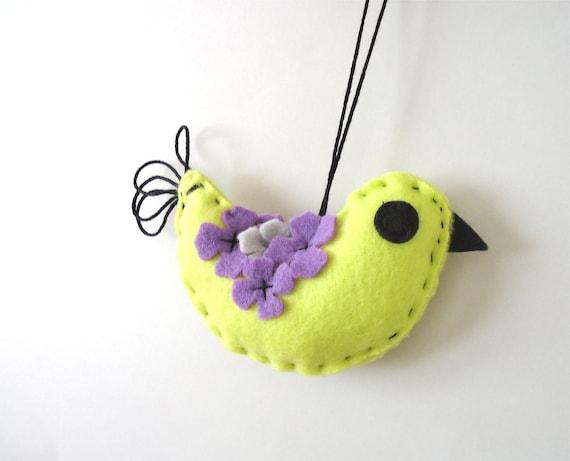 Neon Green Bird. Purple Flower Wings. Neon Bird Decor. Contemporary Decor. Home Decor. Modern Bird Ornament