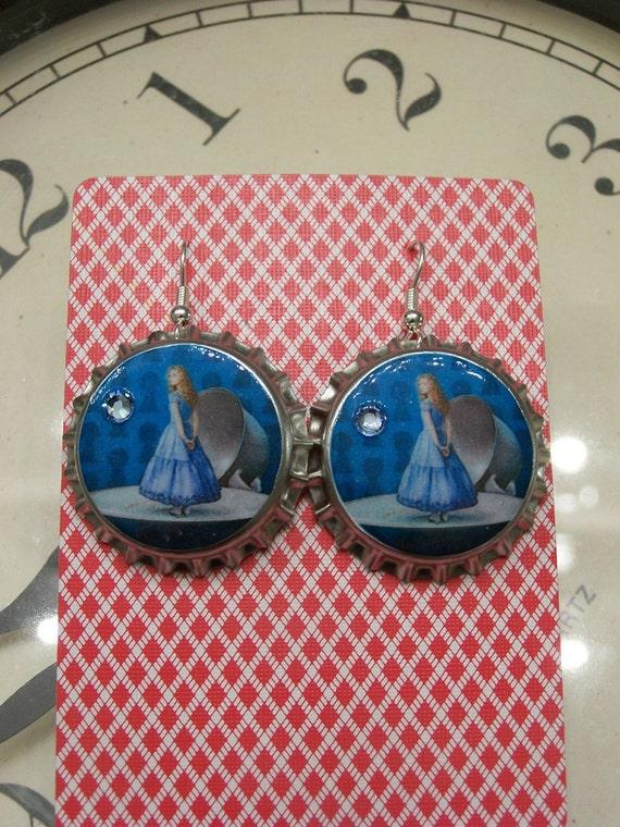 Blue Tea Party Alice inspired bottlecap earrings