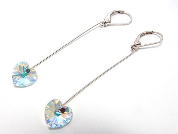 Valentine's Day Crystal Earrings - Swarovski and Sterling Silver Heart Dangles - Aurora Borealis