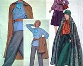 vintage 80's COUTURIER vogue Paris original Yves saint LAURENT uncut CAPE, top, blouse, skirt and pants, size 12 bust 34