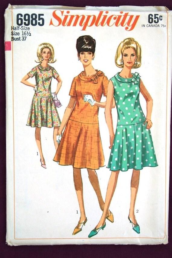 vintage 60's Simplicity 6985, UNCUT, Dress in Half-Sizes, size 16 1/2, bust 37