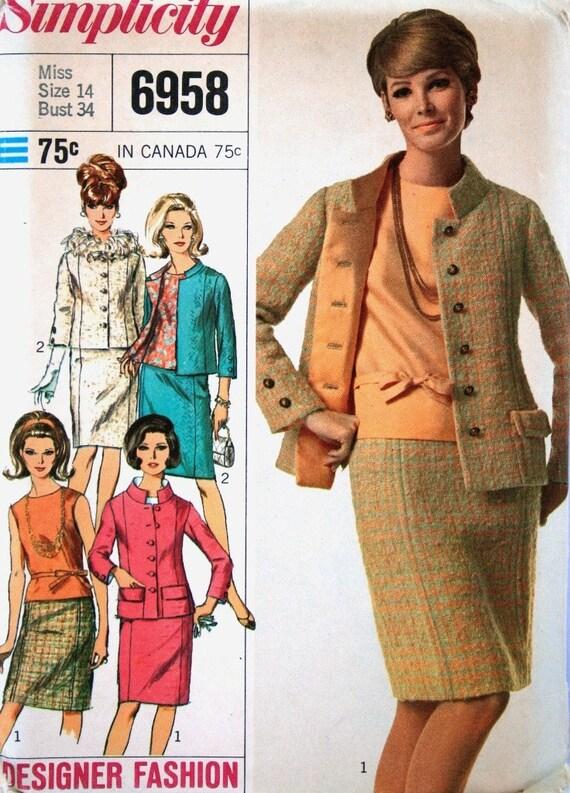 vintage 60's DESIGNER style suit, FEATHER trim optional, UNCUT, Simplicity 6958, size 14 bust 34