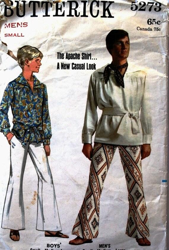 vintage 70's Butterick 5273 men's APACHE shirt, size small, chest 34 36