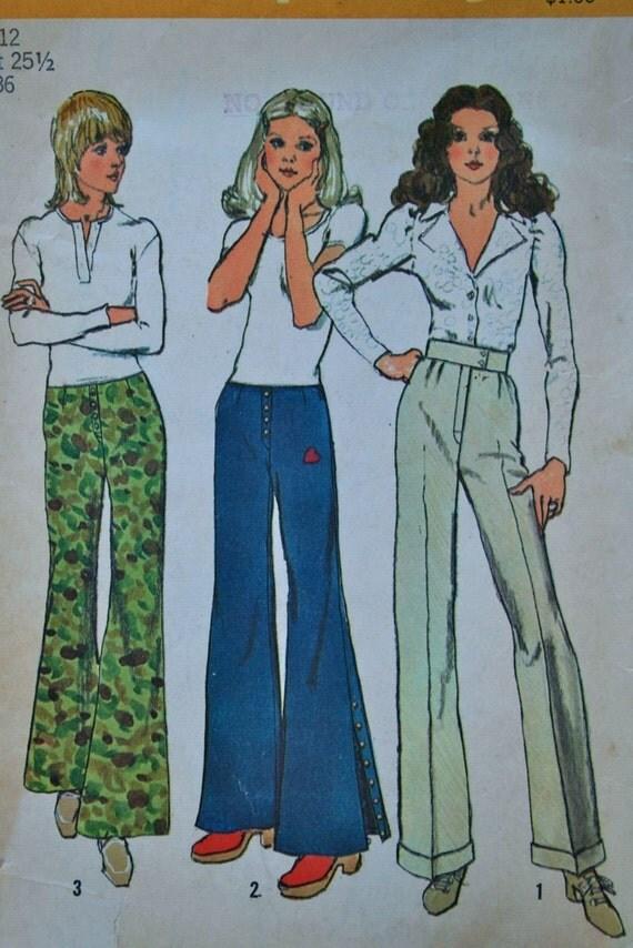vintage 70's Simplicity 9820 HIP HUGGER pants, uncut, size 12 waist 25.5 hips 36