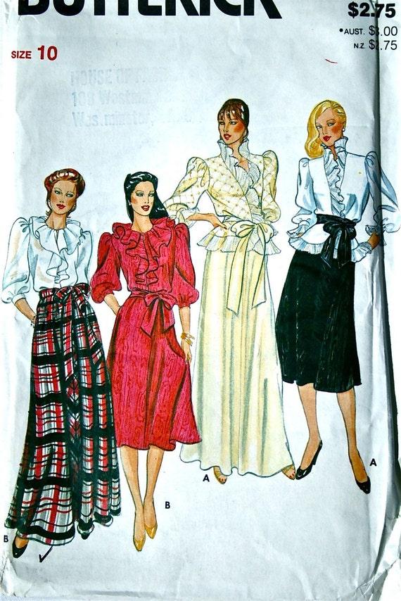 vintage 80's Butterick 4125 blouse, skirt and sash, UNCUT, size 10 bust 31.5