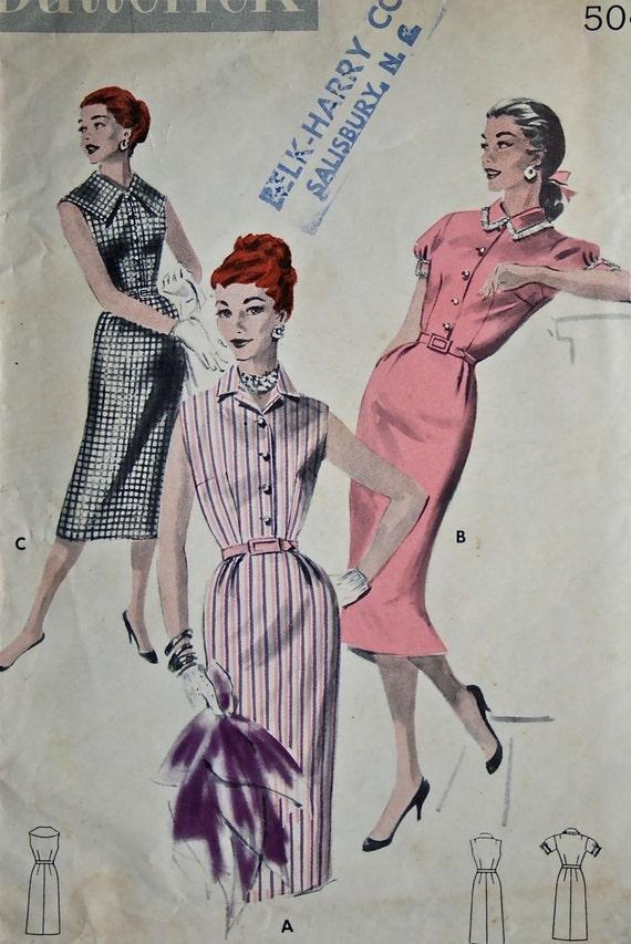 vintage 50's Butterick 7656 WIGGLE dress, size 14 bust 32