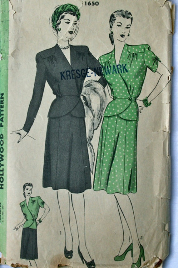 vintage 40's Hollywood 1650 Two piece dress, skirt and blouse, bust 42 hip 45