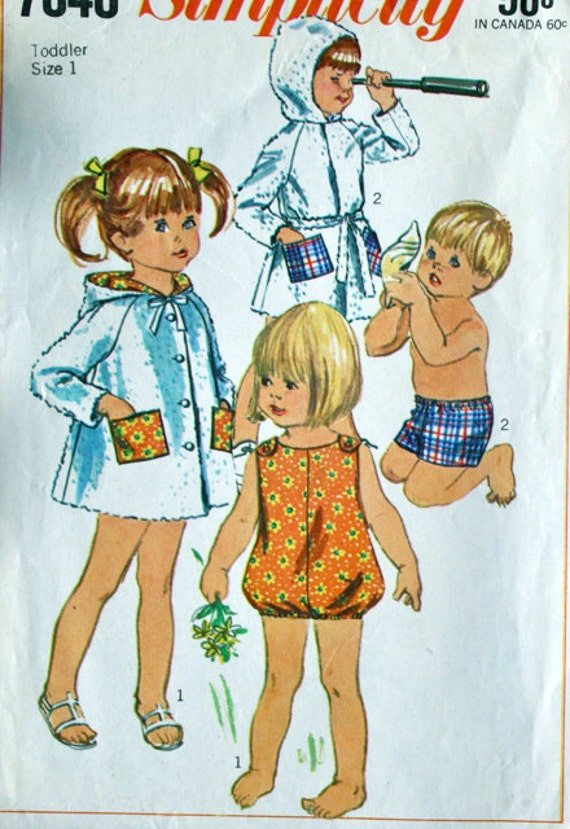 vintage 60's Simplicity 7040 playsuit (only) size 1, INSTRUCTIONS MISSING