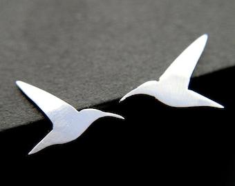 Hummingbird Earrings Sterling Silver studs Handmade