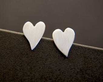 Brushed Sterling Silver Valentine Love Heart post Stud Earrings -  Handmade