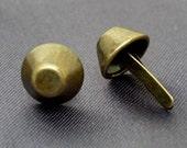 50pcs 1/2 inch 12mm PURSE FEET Brass Studs Nailheads Spike DIY