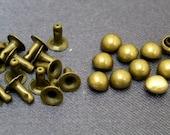 100 sets  5mm Antique BRASS DOME Rivet Rapid Stud for bag purse jacket jean craft project