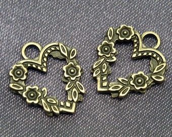25 pcs Vintage Flower Heart (2sides), Antiqued Brass Plated Charms Pendant