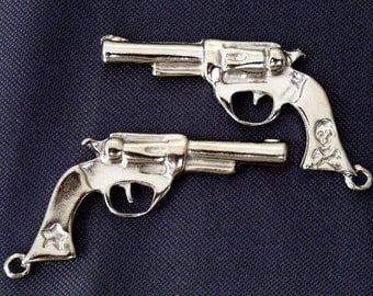 14 pcs Cowboy  n Pirate Gun,  (2 sides) charm pendant