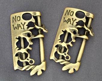 10 pcs - NO WAY Bone skeleton n handcuff gothic punk rock ornament, Antiqued Brass Plated Charm