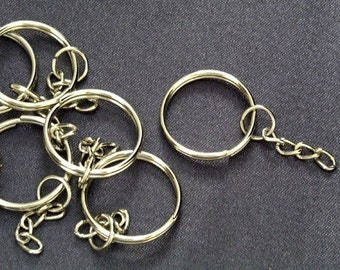 200 pcs / 24 mm Silver Plated Key Chain (grade A) with Split Ring