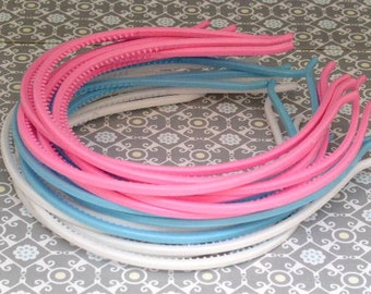 12pcs 4 mm Pink, Blue, White  Plastic  Headbands with teeth
