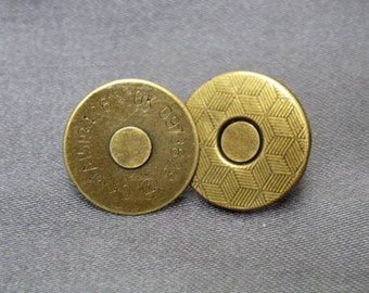 50 sets 14 mm Antique Brass Magnetic Snap Closure / Extra Thin