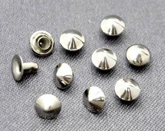 50 sets 5mm nickel / silver CONE Rapid Rivet Stud