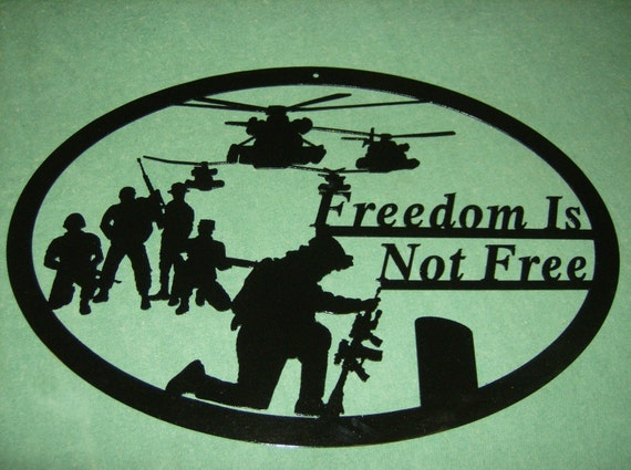 Freedom Helicopter patriotic metal wall art  Freedom is Not Free