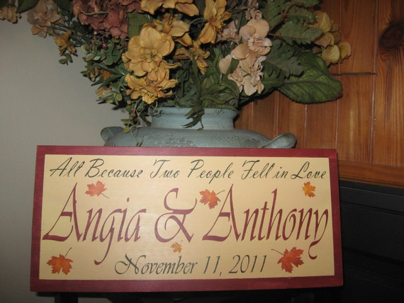 Fall Themed personalized name sign couple wedding bridal shower gift