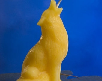 Howling wolf beeswax candle by queen bee honey