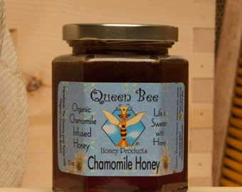 Chamomile infused honey by Queen Bee Honey in Massachusetts