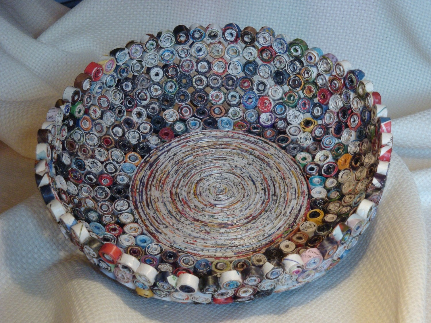 Hand rolled paper bowl basket large for How to make a newspaper bowl