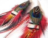 Wasp - Extra Long Green, Red, Black, Gray, Brown and Whtie Feather Earrings 14 inches