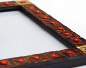 Burnt amber - Mosaic photo frame 5x7in (13x18cm)