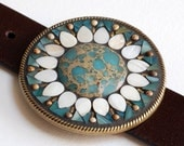 Aqua Sunflower - Mosaic belt buckle with leather strap