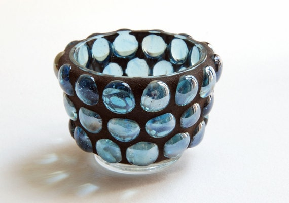 Blue Gems - Mosaic candle holder