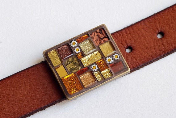 Honey and Cinnamon - Mosaic belt buckle with leather strap