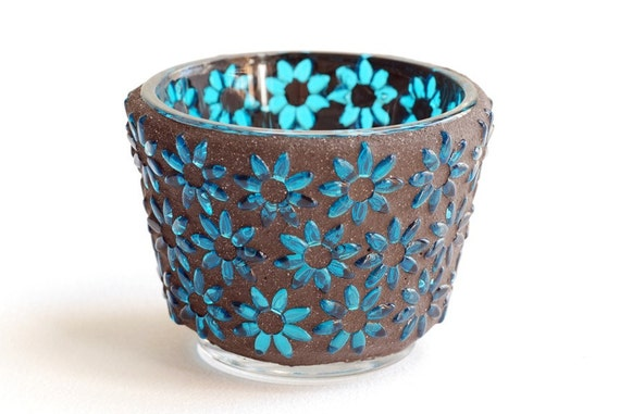 Turquoise Flowers - Mosaic candle holder