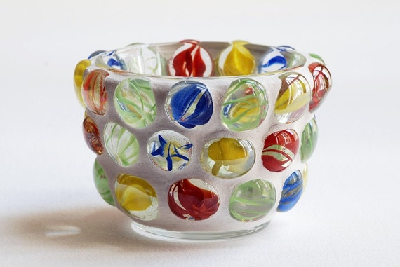 Swirl Gems - Mosaic candle holder