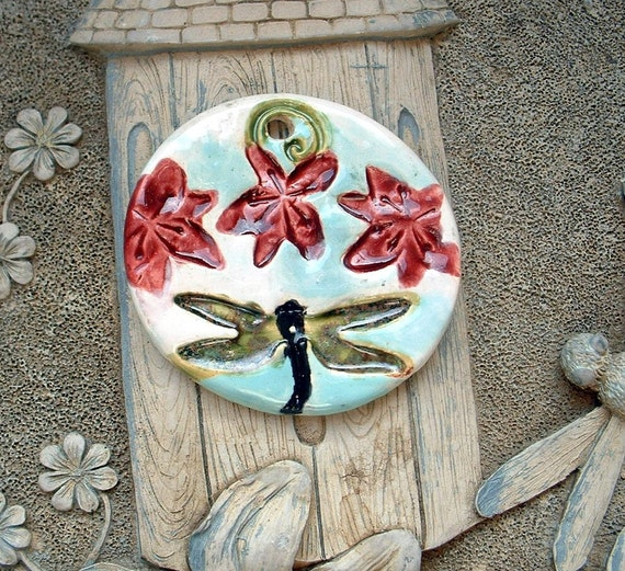 Dragonfly Pendant  by Shaterra Clay  Beads of Clay Ceramic Art Bead