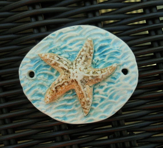 Starfish in Aqua Blue Water Ceramic Pendant Connector by SlinginMud  Beads of Clay Ceramic Bead Art