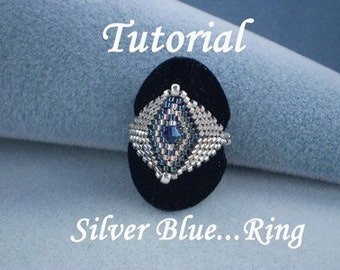 TUTORIAL Silver Blue...Ring - Bead pattern
