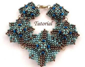 Tutorial Blue Square Bracelet - Bead pattern PDF