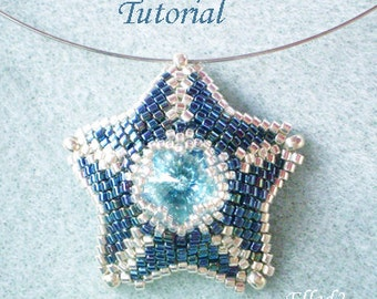Tutorial Silver Blue Star Pendant - Beading pattern