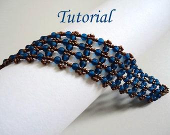 Tutorial Capri Blue Bracelet - Beading pattern PDF