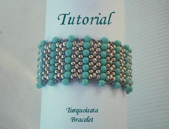 Tutorial Turquoiseta Bracelet - Instant download, beading tutorial PDF
